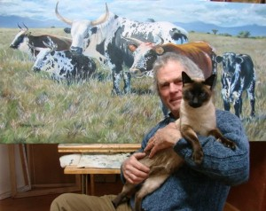 John & Nula show the scale of this painting.