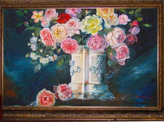 My Kitchen Roses oil painting, 2004
