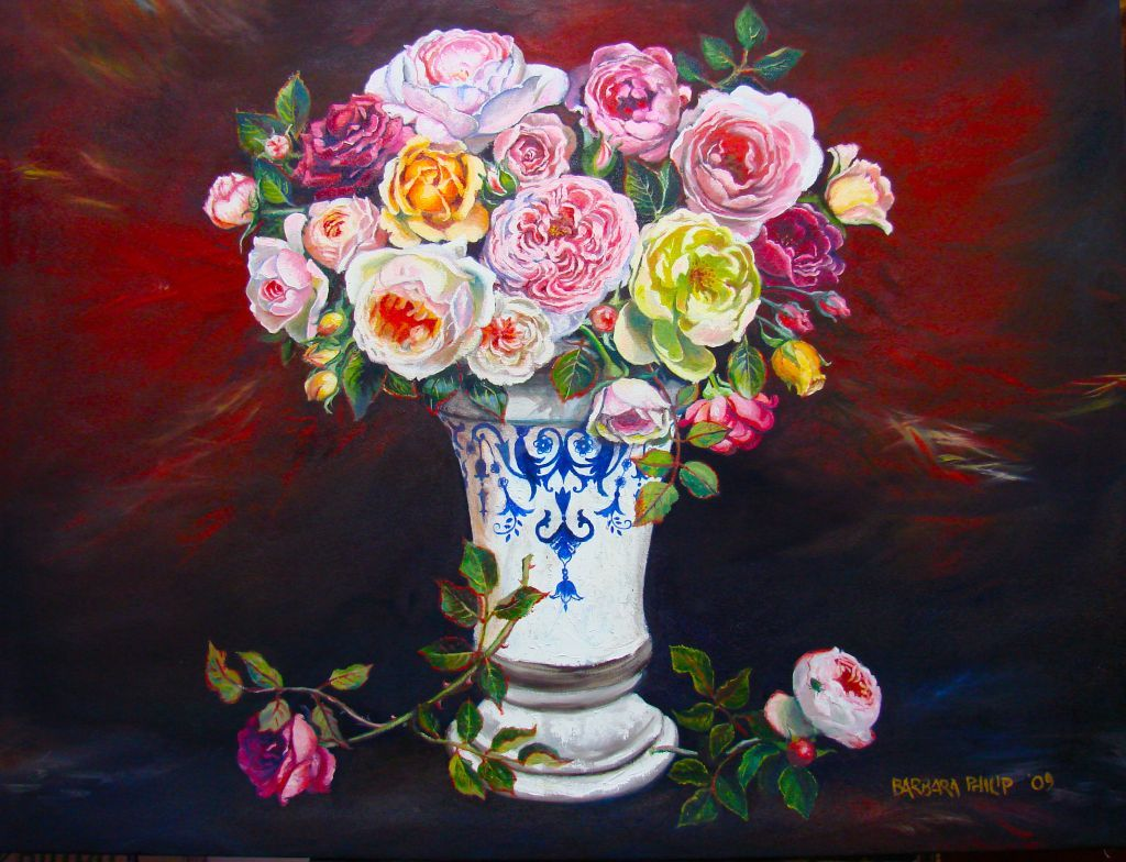 Roses from the Garden. Oil painting on canvas. 1250 x 940 mm