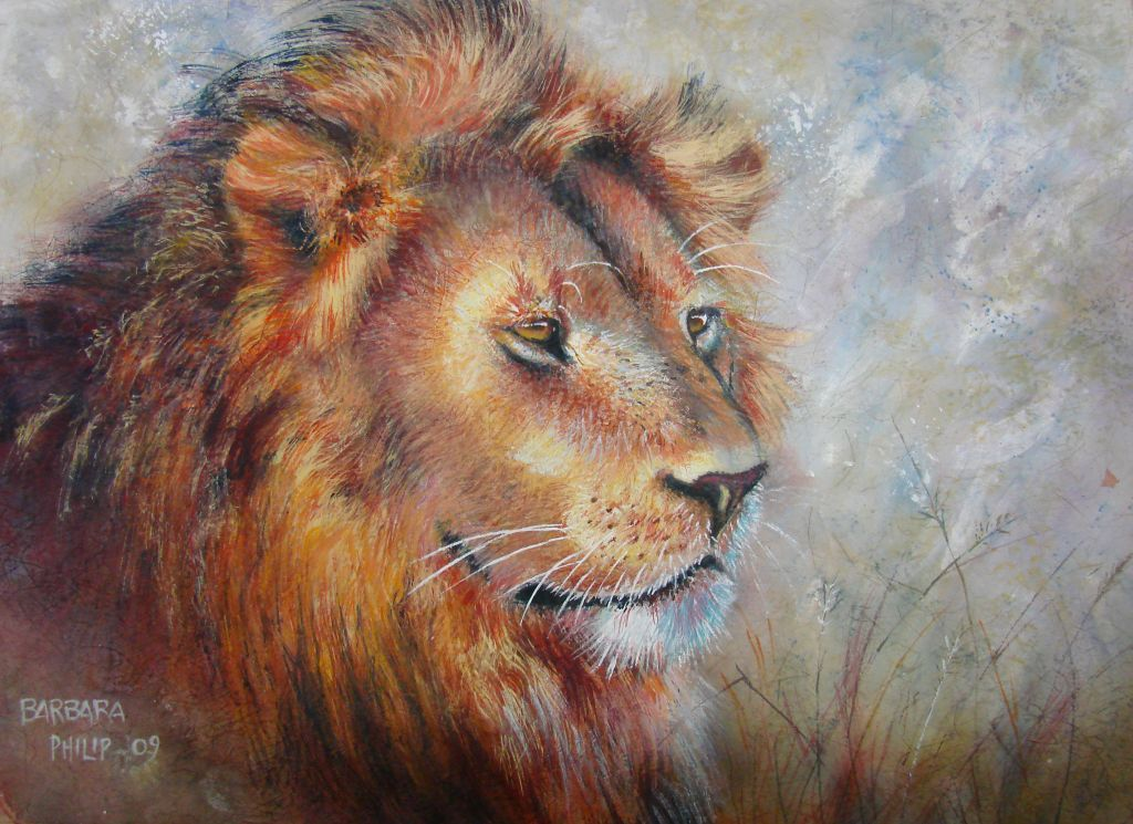 Lion painted on Rice paper, with white Gouache and Watercolour. 400 x 554 mm.