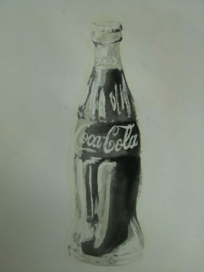 Wax-resist Coke bottle, with black ink wash.