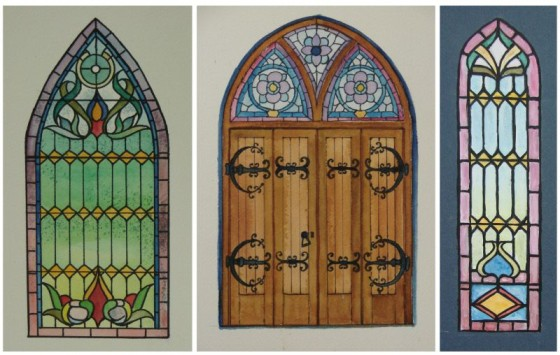 Stained glass windows, even above the door.